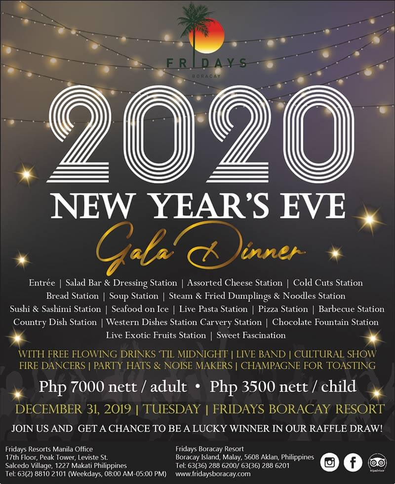 Fridays Boracay - 2020 New Year's Eve Gala Dinner