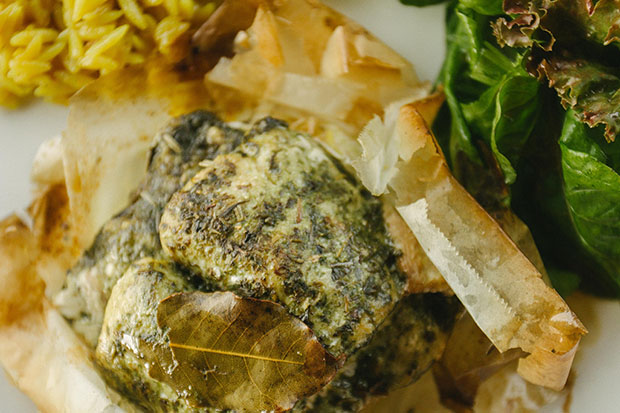 Fish en Papillote with Pesto and Thyme